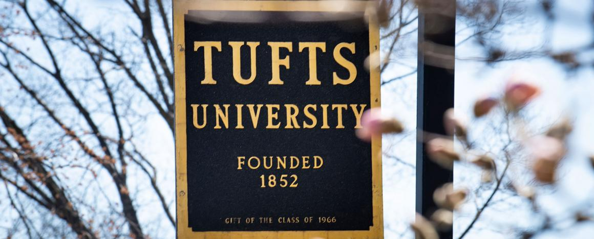 Tufts University sign, in the midst of spring flower blossoms